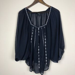 Lucky Brand Navy Bat Sleeve Sheer Blouse L/XL